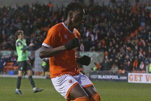 Armand Gnanduillet scored twice in Blackpool's victory against AFC Wimbledon