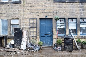 One of many homes in Mytholmroyd devastated by the floods after Storm Ciara