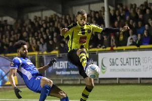 Harrogate Town's Warren Burrell made his 45th consecutive appearance of 2018/19 against Salford City on Wednesday. Picture: Matt Kirkham