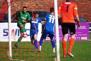 Tyler Williams goes for goal at Spalding United. PIC: Steven Ambler.