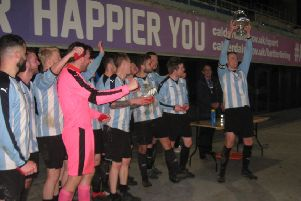 Huiddersfield Amateur after their 4-0 win over Shelf United in the final of the Halifax FA Saturday Cup