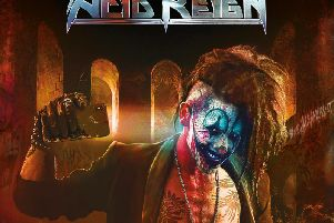 The cover of Harrogate rock band Acid Reign's new album The Age of Entitlement by renowned album cover illustrator Mark Wilkinson of Iron Maiden fame.