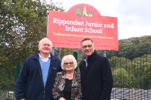 Cllr Steven Leigh MBE and Cllr Geraldine Carter with Craig Whittaker MP outside Ripponden Junior and Infant School.