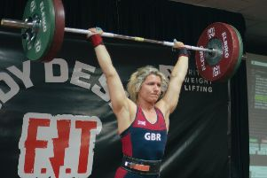 Ruta Lendraitene, world bench press champion, in action at Pontefract. Picture: Max Wailes