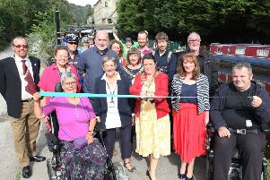 Celebrations as the Rochdale Canal towpath at Hebden Bridge was officially re-opened on Saturday.