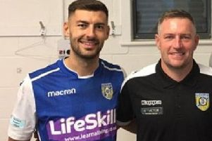 Frickley Athletic's Jonny Margetts with manager Dave Frecklington.