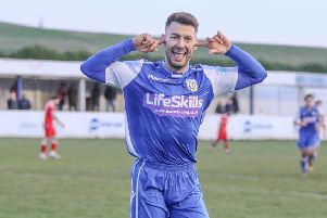 Jono Margetts celebrates his winning goal for Frickley Athletic against Stamford. Picture: Onion Bag Photos