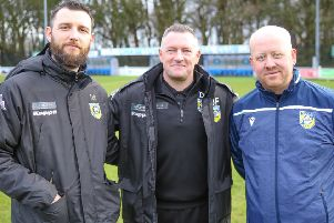 Frickley Athletic management team coach Kyle O'Reilly, manager Dave Frecklington and assistant manager Damon Parkinson. Picture: Onion Bag Photos
