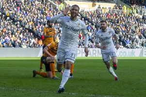 Tyler Roberts celebrates scoring for Leeds United at Hull City. Picture: Tony Johnson