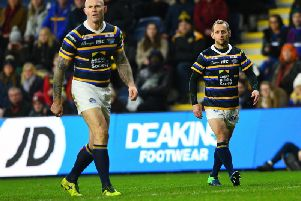 Keith Senior and Rob Burrow. Picture by Jonathan Gawthorpe.
