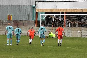 Ben Duffield opens the scoring from the penalty spot Picture: GIBSON