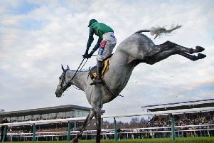 Bristol  De Mai's spectacular leap at the last fence ensures victory in the Betfair Chase for the second year running at Haydock Park   Picture: BRIAN CLARK
