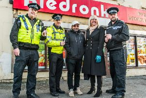 Police and staff in Wakefield.
