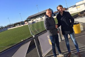 New Frickley Athletic board member Lee Gray with club director Ryan McKnight.