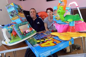 Burbank Community Centre manager Ian Cawley and Jaime Horton with some of the items for the new Hartlepool Baby Bank.