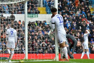 Tyler Roberts rues a missed chance for Leeds United against Sheffield United.  Picture: Bruce Rollinson