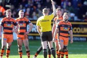 Castleford Tigers' Paul McShane is sent to the sin bin against Salford Red Devils. Picture: Tony Johnson.