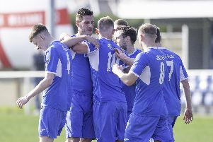 Hemsworth MW players celebrate Richard Collier's goal against Bridlington Town. Picture: Allan McKenzie