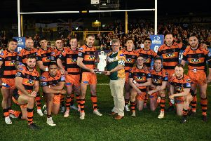 Castleford Tigers v Wakefield Trinity.'Castleford are presented with the Adam Watene trophy.'18th April 2019.'Picture Jonathan Gawthorpe