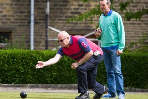 Actions from the Sowerby Bndge men's pairs bowls competition, at West End BC, Sowerby Bridge. Pictured is Malcolm Griffiths