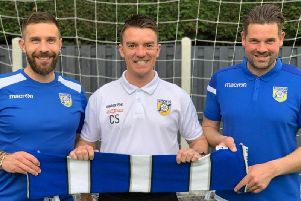 Frickley Athletic's new manager Craig Spink (centre) with new assistant manager Adam Valente and goalkeeping coach Mark Birch.