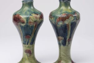 This pair of Moorcroft 'Claremont' pattern vases sold for �4,000 at Hartley's Summer Fine Sale.
