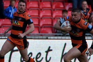 Greg Minikin, who raced 80 metres for a try for Castleford Tigers at Hull KR.