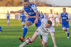 Sam Cable, came close to scoring for Frickley Athletic at Pontefract Collieries.