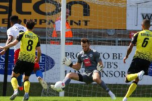 Harrogate Town goalkeeper James Belshaw didn't receive much by way of protection from his defence at Dagenham & Redbridge. Picture: Matt Kirkham