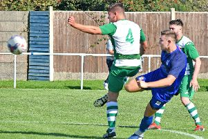 Dean Ing sends in a shot at goal as Squires Gate are beaten on Saturday'   Picture: Albert Cooper