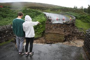 The collapsed bridge on Grinton moors following flash flooding in the Yorkshire Dales. Picture by SWNS.