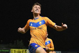 Picture: Andrew Roe/AHPIX LTD, Football, Leasing.com Trophy Group Stage Group E, Mansfield Town v Crewe Alexandra, One Call Stadium, Mansfield, UK, 08/10/19 K.O 7.45pm''Mansfield's Jimmy Knowles celebrates his goal'Howard Roe>07973739229
