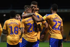 Picture: Andrew Roe/AHPIX LTD, Football, Leasing.com Trophy Group Stage Group E, Mansfield Town v Crewe Alexandra, One Call Stadium, Mansfield, UK, 08/10/19 K.O 7.45pm''Mansfield's players celebrate Jimmy Knowles' goal'Howard Roe>07973739229