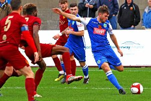 Rob Wilson scored a late equaliser against Warrington Town. Picture: Tony North.