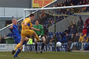 Colin Larkin in action against Oldham in March 2002