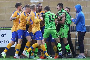 Picture Gareth Williams/AHPIX LTD, Football, Sky Bet League Two, Forest Green Rovers v Mansfield Town, The New Lawn, Nailsworth, UK, 19/10/19, K.O 3pm''Howard Roe>07973739229''Tempers flared at the full time whistle between Rovers and Town players