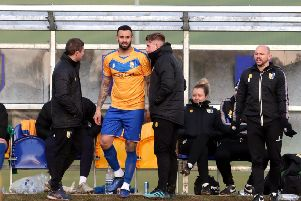 Mansfield Town striker Craig Davies returns from a long term ankle injury during the reserve match at the RH Academy, Mansfield on Tuesday 19th November 2019.