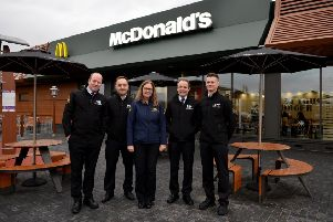 "New McDonald�""s restaurant opened in Hucknall, Pictured from left are area manager Nathan Whittle, business manager Marc Jewsbury, owner Fiona Nicholls, assistant manager Damian Weedon and assistant manager Jordan Parkin-Connelly"