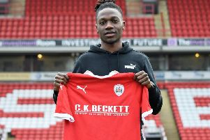 Jordan Green, pictured at his Oakwell unveiling almost a year ago.
