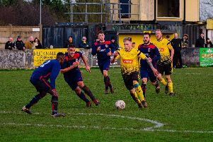 Action from Hucknall's win over Rainworth on Saturday. Photo: Lee Fox Photographs