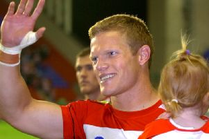 Brett Dallas salutes the fans after his last game for Wigan at the end of 2006