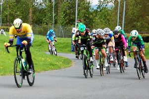 Andy Bishop attacks on his way to a fine fifth place at Shrewsbury.