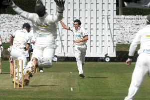 Charlie Best, of Pudsey St Lawrence, is out caught by New Farnley wicketkeeper Steve Bullen off the bowling of Andrew Brewster. PIC: Steve Riding