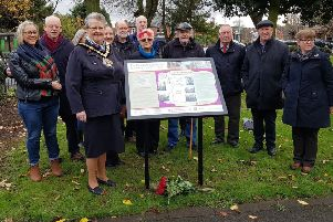 The new information panel is unveiled  at Sutton by the chairman of Nottinghamshire County Council, Coun Sue Saddington, and members of the Pentrich Revolution Group.