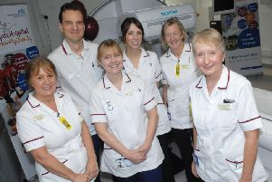 Jackie Wilkinson and Janet Hill with the rest of the radiology team.