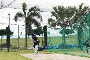 England captain Joe Root plays a shot during a net session at Sir Vivian Richards Stadium.  (Photo by Shaun Botterill/Getty Images)