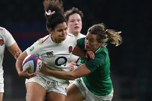 Tatyana Heard of England is tackled by Jeamie Deacon of Ireland during the Women's Quilter International match between England Women and Ireland Women at Twickenham Stadium on November 24, 2018. (Picture: Shaun Botterill/Getty Images)