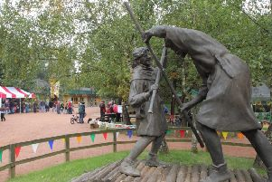 The first meeting of Robin Hood and Little John on a narrow bridge over a river is immortalised in Sherwood Forest's statue outside the Visitor Centre.