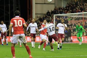 Nottingham Forest on the attack during the match between Nottingham Forest and Aston Villa at The City Ground Nottingham on 13-03-19 Image Jez Tighe