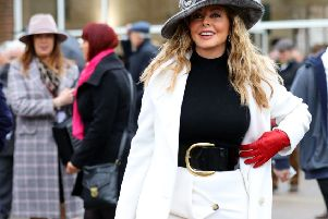 Carol Vorderman during Gold Cup Day of the 2019 Cheltenham Festival at Cheltenham Racecourse. Aaron Chown/PA Wire.